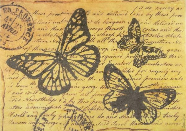 Rice Paper - Butterly with Words