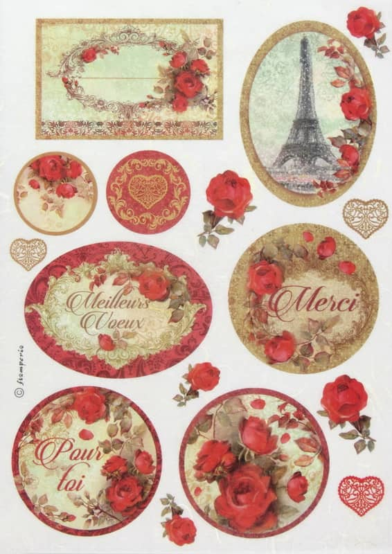 Rice Paper - Red Roses and Frames Stamperia DFSA4137
