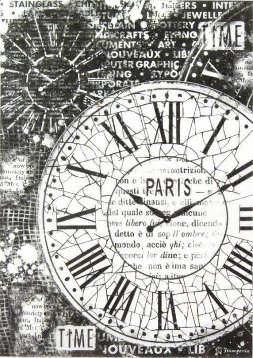 Rice Paper - Black Clocks Paper Stamperia DFSA4170