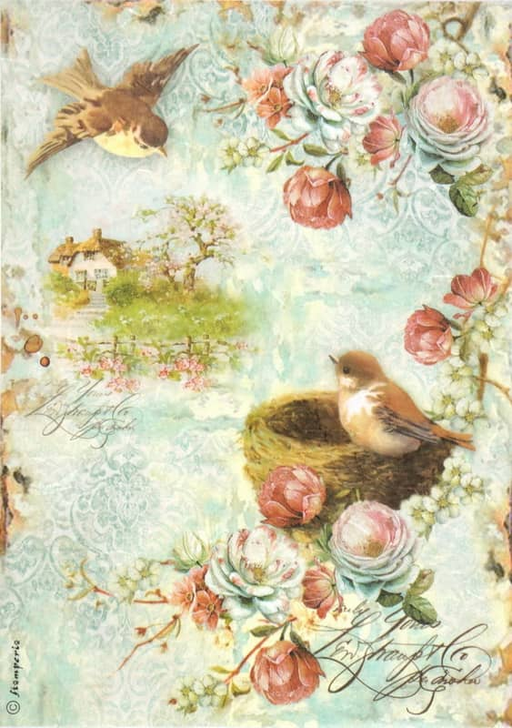 Rice Paper - Birdcage & Roses