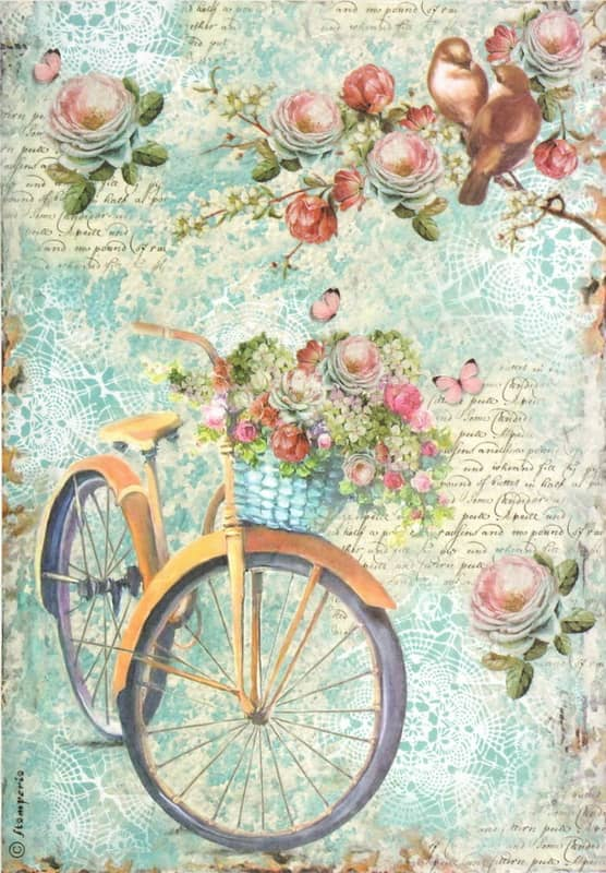Rice Paper - Bike & Branch & Flowers