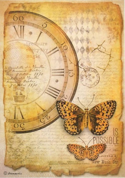 Rice Paper - Mix Media Clock Butterfly