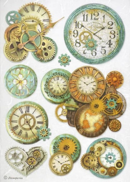 Rice Paper - Gearwheels and Clock