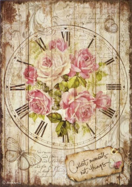 Rice Paper for Decoupage - Sweet Time Clock Bouquet
