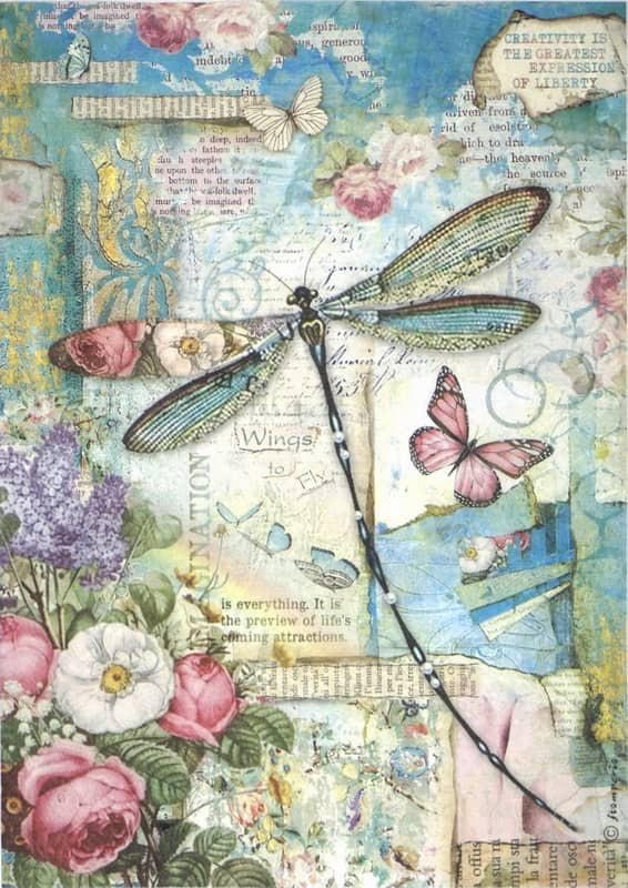 Rice Paper - Wonderland Blue Dragonfly