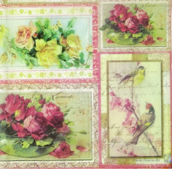Rice Paper - Roses ans Birds