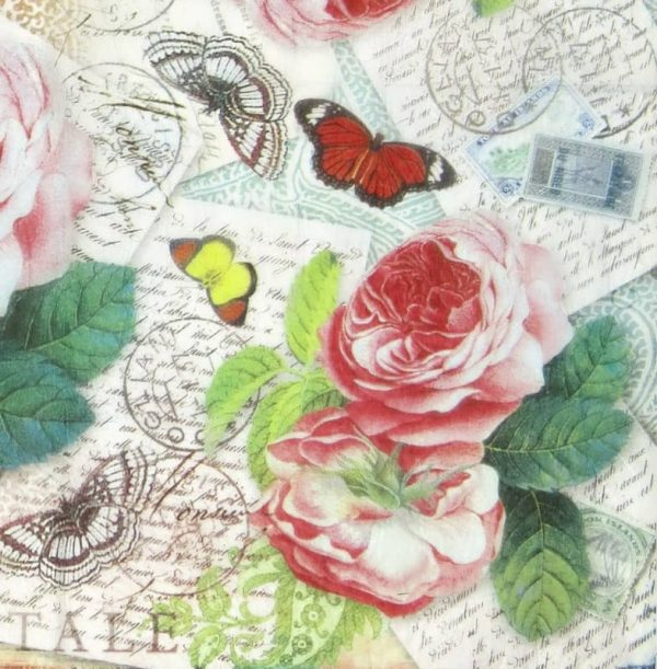 Rice Paper - Roses and Butterfly