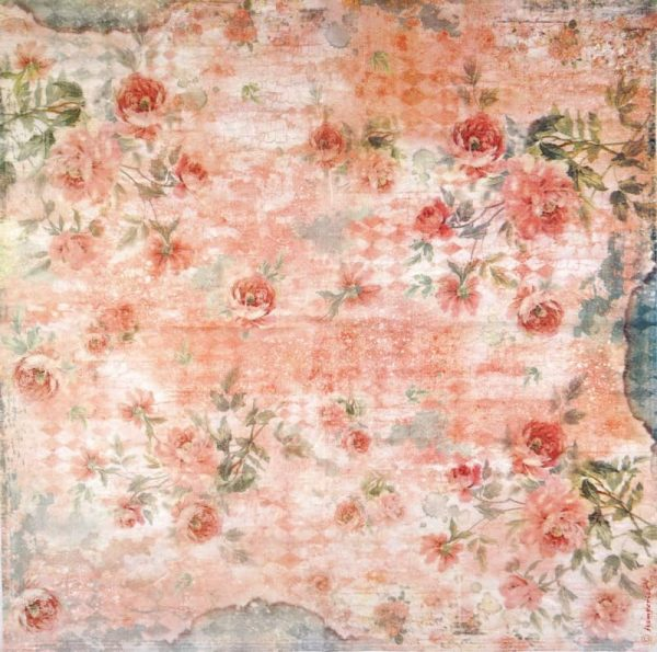 Rice Paper - Roses Pink Background