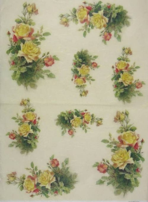 Rice Paper - Vintage Yellow Roses-