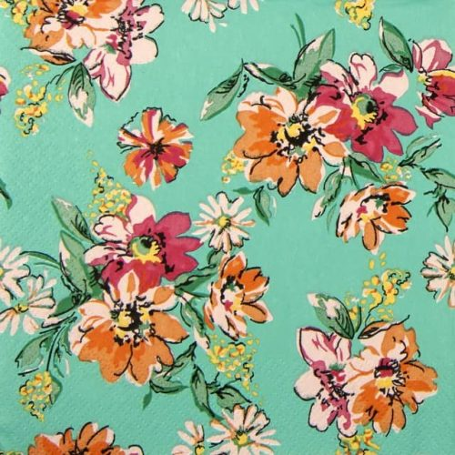 Lunch Napkins (20) - Flower Meadow Pattern Turquoise