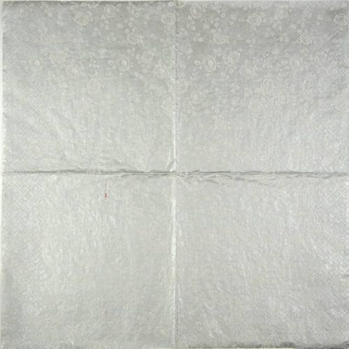Paper Napkin - Little Roses silver