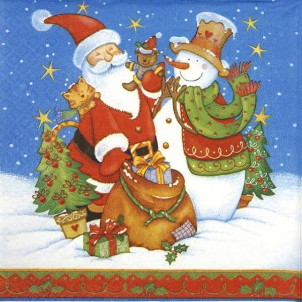 Lunch Napkins (20) - Santa Snowman