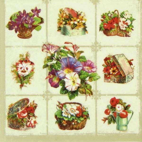 Paper Napkin - Flower Baskets