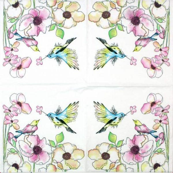 Paper Napkin - Watercolour Birds & flowers