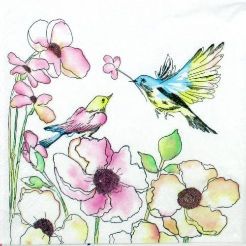 Paper Napkin - Watercolour Birds & flowers