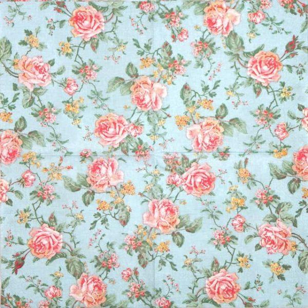 Paper Napkin - English Style Roses Blue