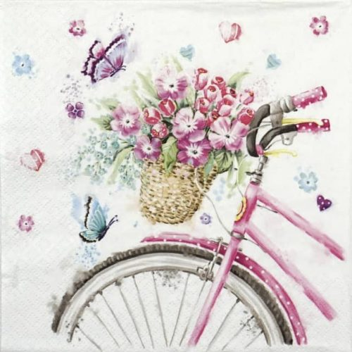 Paper Napkin - Pink bicycle with basket