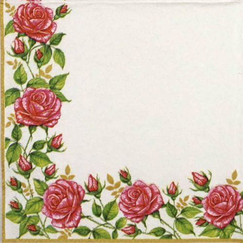 Paper Napkin - Flower frame with garden roses