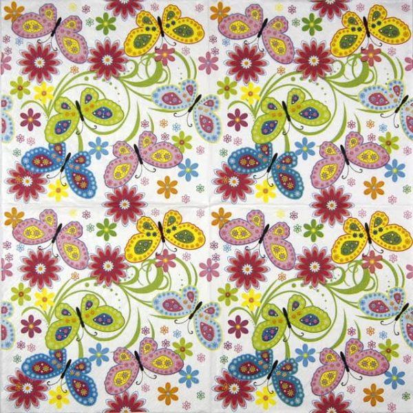 Lunch Napkins (20) - Graphic Colour Butterflies