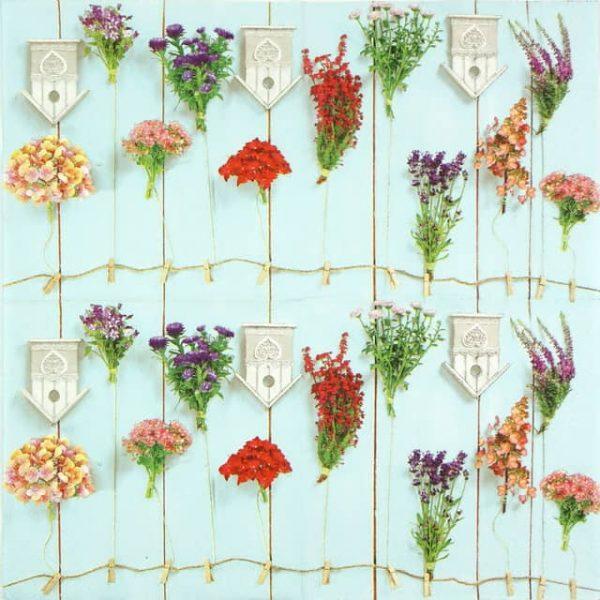 Paper Napkin - Bird Houses and garden flowers