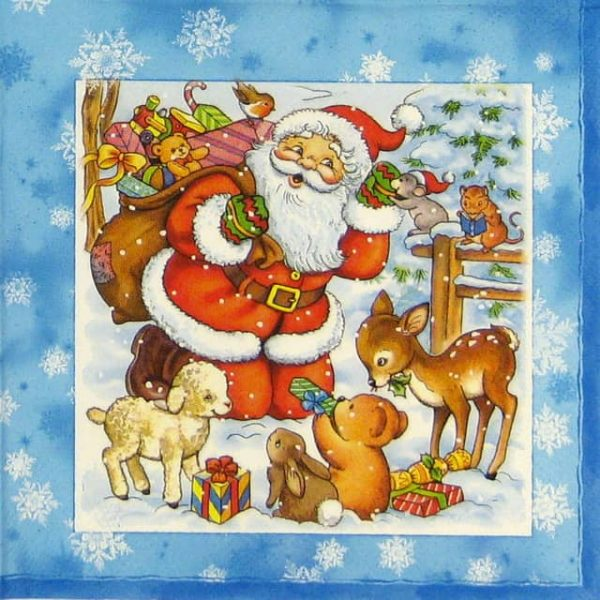 Paper Napkin - Santa and Pet