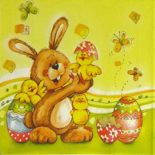 Paper Napkin - Happy Bunny with Chickens