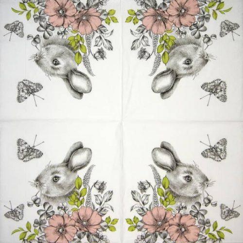 Paper Napkin - Graphite Bunny