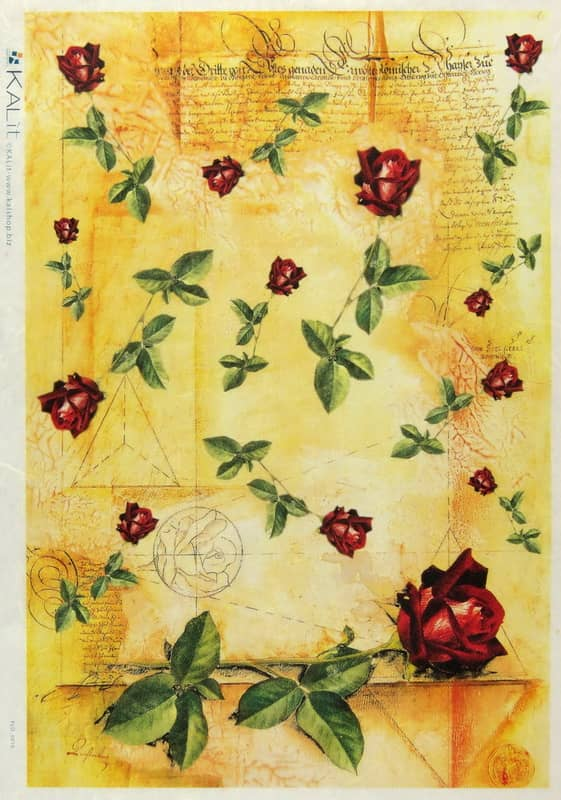 Rice Paper - Red Roses on yellow-