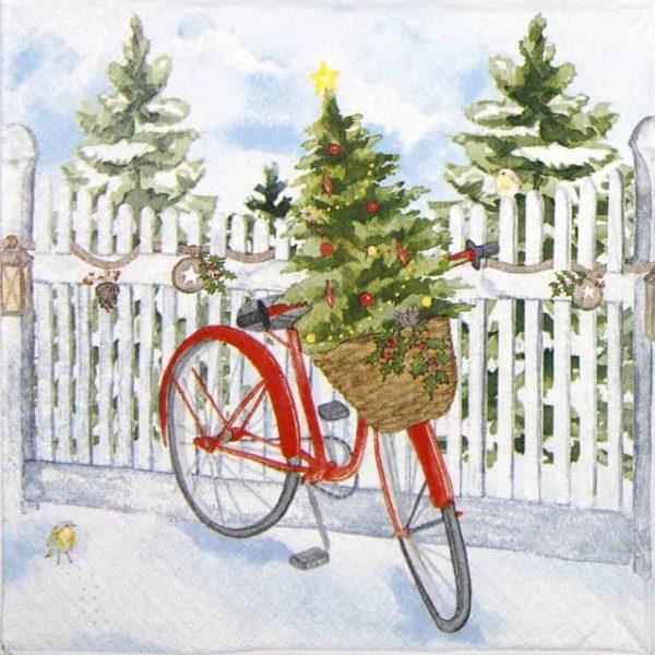 Lunch Napkins (20) - Christmas Bike