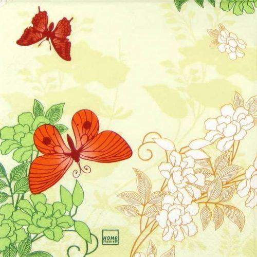 Paper Napkin - Three Butterflies orange