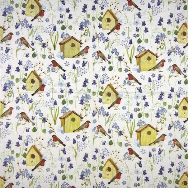 Paper Napkin - Birdhouse in Spring