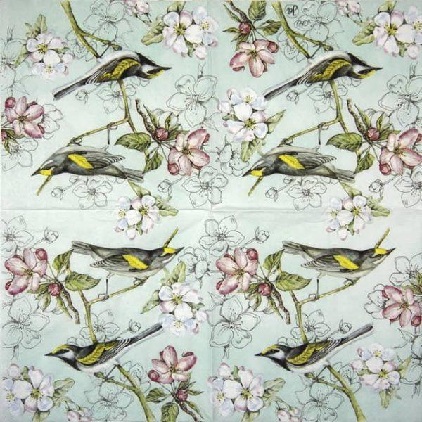 Paper Napkin - Birds Symphony green