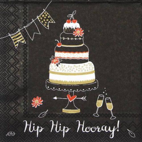 Cocktail Napkin - Hip Hip Hooray black