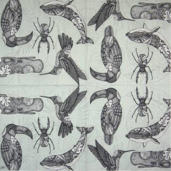 Paper Napkin - Tattoo Animals grey