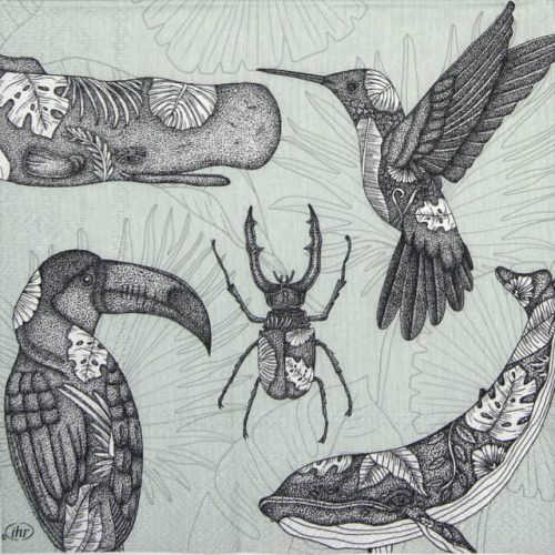 Paper Napkin - Tattoo Animals grey