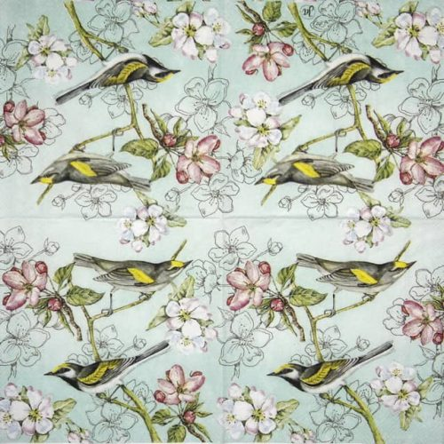 Cocktail Napkin - Birds Symphony green