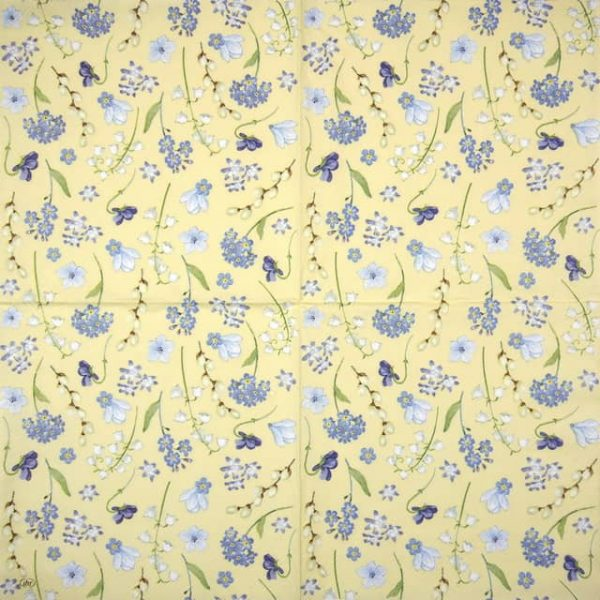 Cocktail Napkins (20) - Flower in Spring yellow