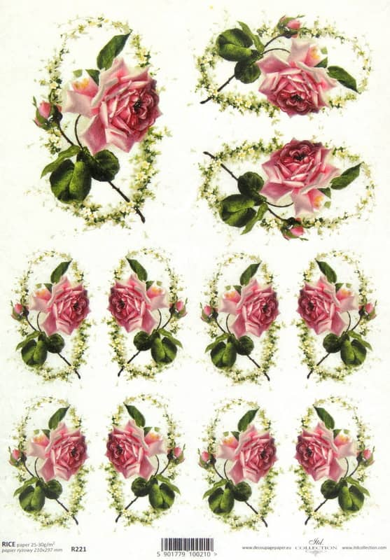 Rice Paper - Pink Roses in Flower Frame