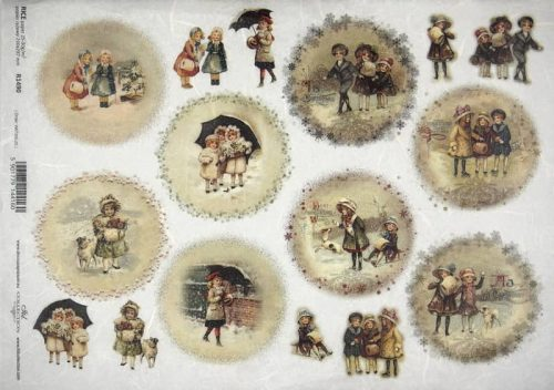 Rice Paper - Winter playing children