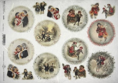 Rice Paper - Winter playing children red