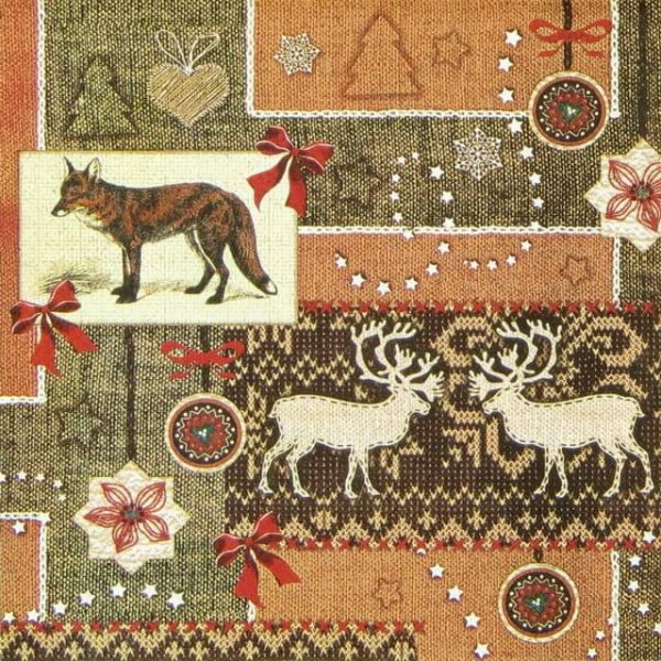 Paper Napkin - Fox and Fabric Brown