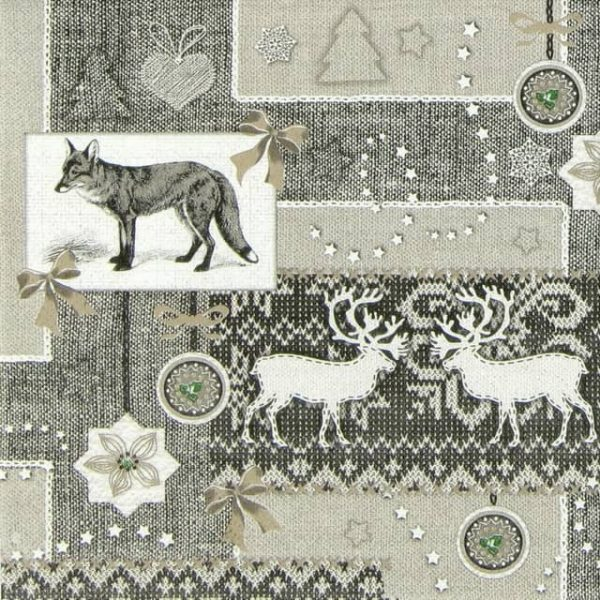 Paper Napkin - Fox and Fabric Grey