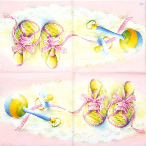 Paper Napkin - Pink Baby Shoes
