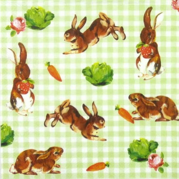 Paper Napkin - Little Bunnies Green