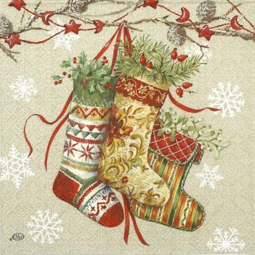 Paper Napkin - Decorative Stocking