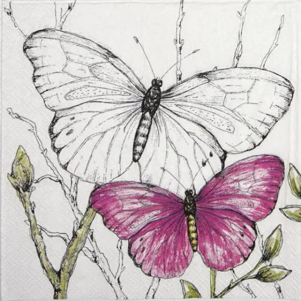 Paper Napkin - Colourful butterflies pink