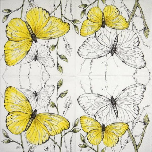 Cocktail Napkins (20) - Colourful Butterflies yellow