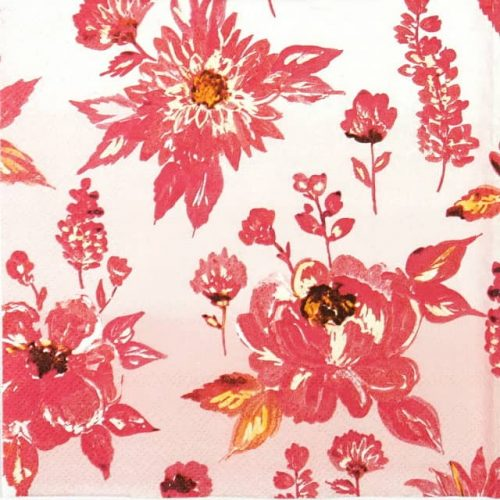 Lunch Napkins (20) - Lauren Flower Red