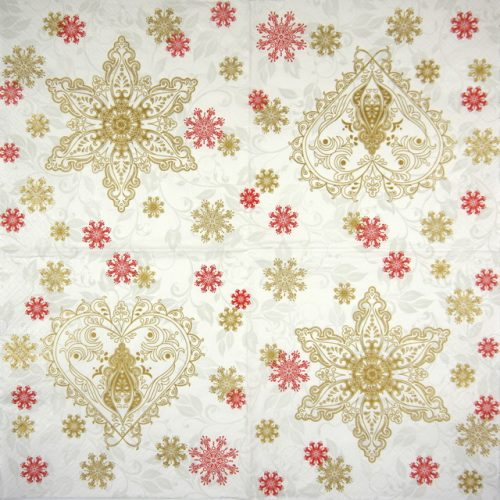 Paper Napkin - Gold & Red Ornate Snowflakes