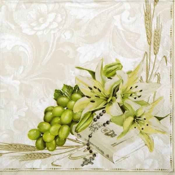 Paper Napkin - Prayer book with Lilies and grapes